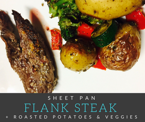 This Sheet Pan Flank Steak + Roasted Potatoes & Veggies are easy to prepare, simple to clean up and tastes delicious!  It is the perfect weeknight meal for the busy family!