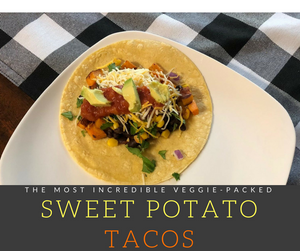 Step up your Taco Tuesday game with this incredibly flavorful Sweet Potato Tacos.  A classic tortilla piled high with sweet potatoes, corn, black beans and your favorite toppings!