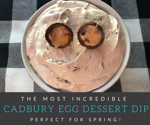 This Cadbury Egg Dip is a Cadbury lovers dream come true!  This deliciously creamy dip is full of scrumptious chunks of Cadbury Eggs swirled into an incredible marshmallow cream.  This dip is sure to be a hit with your crowd this Spring!