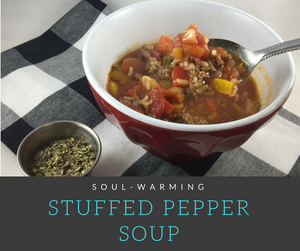 Dive into this rich, hearty and healthy home-style soup featuring sweet peppers, ground beef, and onions.