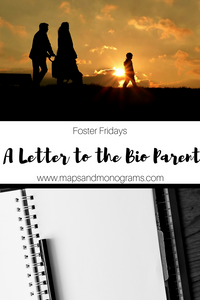 What do you say to someone you've never met when you've just been entrusted in the care of their child?  Check out our letter to the biological parent(s) of our future foster child.