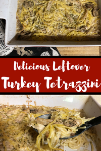 Turn yesterday's turkey dinner into a brand new, totally unrecognizable dish!  In this dish, the leftover turkey masquerades in a brand new dish made of noodles covered with a creamy sauce with mushrooms.
