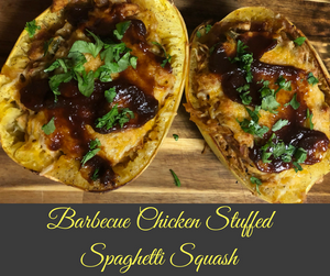 Spaghetti squash and barbecue chicken come together to form the ultimate low-carb, gluten-free spaghetti squash recipe, perfect for summer!