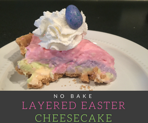 Are you looking for a simple Easter dessert?  This no-bake pastel striped cheesecake recipe will be the perfect addition to your menu!