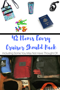 Check out my list of 42 items I pack for every cruise, including some you may not have thought of! All of the items listed fit neatly into a medium-sized suitcase.