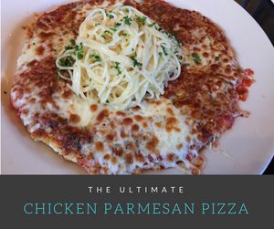 This trendy dish is a combination of two of my favorite foods: Pizza and Chicken Parmesan.  The crust of this delicious pizza is an actual chicken breast coated with cheese, sauce and delicious pasta!
