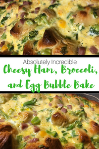 Spruce up your morning routine with this delicious Cheesy Ham, Broccoli and Egg Bubble Bake!  It is simple to prepare and can be assembled the night before!