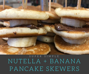 You won't believe how simple these delicious Nutella and Banana Mini-Pancake Skewers are to make!  These little guys are great for an easy breakfast idea and wonderful when feeding a crowd!