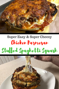 This absolutely incredible Chicken Parmesan Stuffed Spaghetti Squash is simple to make and guaranteed to knock your socks off!