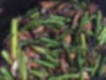 aspragus, mushooms and bacon