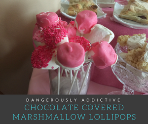 These super simple Chocolate Covered Marshmallow Pops are perfect for dessert tables for events like Baby Showers and Birthday Parties!