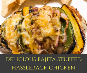 This baked Fajita Stuffed Hassleback Chicken is filled with delicious bell peppers, red onions and topped with a Tex-Mex cheese.  This healthy dinner is perfect for Taco Tuesdays or an easy weeknight meal!