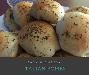 These Easy & Cheesy Italian Bombs take only minutes to prepare.  Delicious salami is sounded by ooey-gooey cheese and premade biscuit dough to form the ultimate football food.