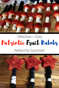 Celebrate all things America with these absolutely delicious (and totally adorable!) Patriotic Fruit Kabobs.  These beautiful skewers are perfect for Memorial Day, 4th of July, Labor Day and Summer BBQs!