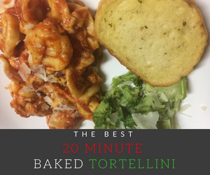 Do you need a simple, quick and delicious dinner recipe?  This yummy Baked Tortellini recipe takes just 20 minutes to prepare making it the perfect weeknight meal!