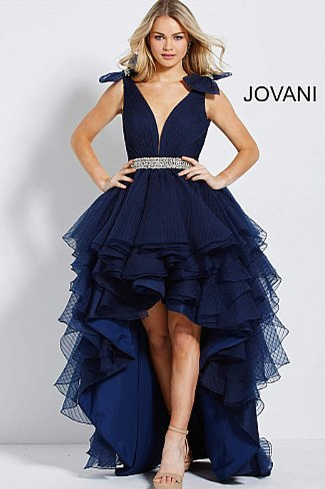 Navy Backless High Low Prom Gown