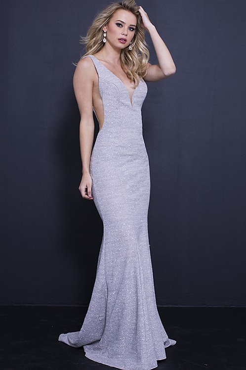 Plunging Embellished Gown