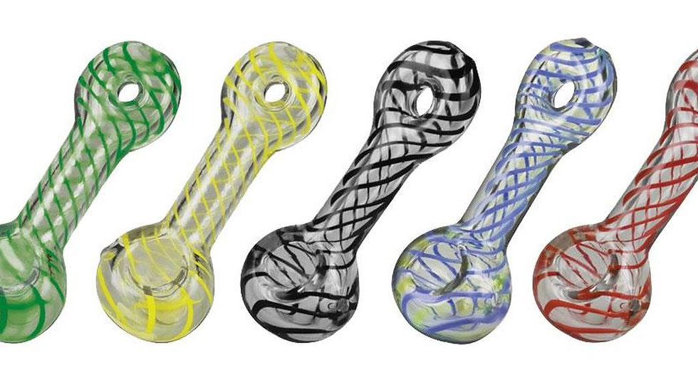 "4.5"" UV Reactive Striped Donut Spoon by Pulsar Glass"