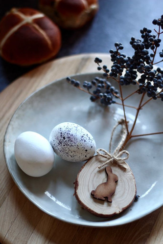 Speckled eggs with bunny decoration