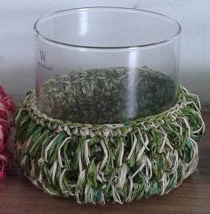 Green sisal hurricane vase