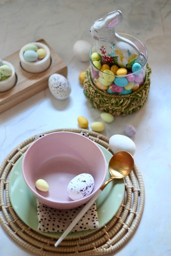 Pink bowl with coloured eggs