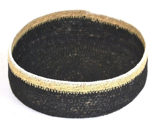 Small round natural & black basket