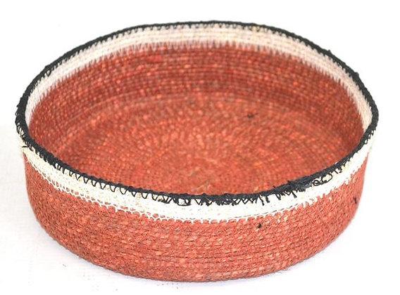 Small round tan & black basket
