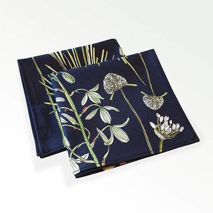 Black botanical cotton napkin - set of 2