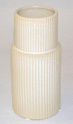 Ceramic vase with stripes - cream