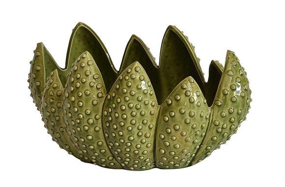 Ceramic green cactus bowl