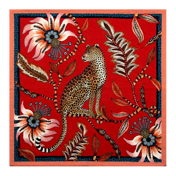 Leopard Royal red Ardmore napkin.png