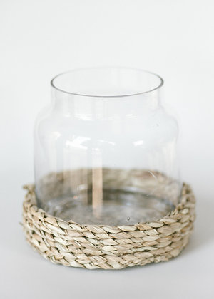 Glass hurricane vase with grass base - large