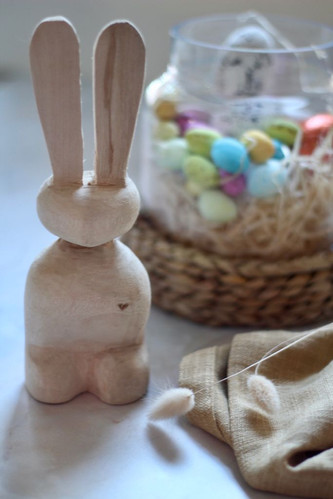 Wooden bunny with coloured eggs