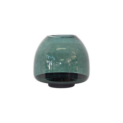 Green & black glass vase