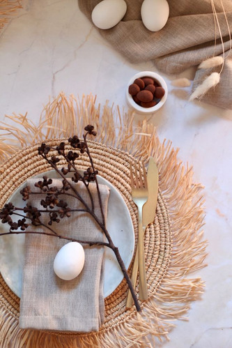 Chai easter setting with cocoa eggs