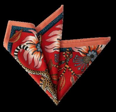 Folded leopard red royal Ardmore napkin.png