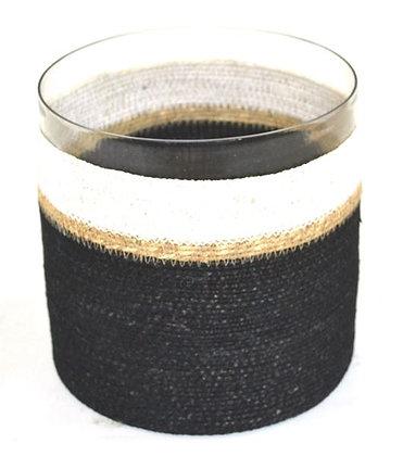 Glass votive with natural & black basket