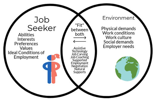 Circle graph showing the differences and simularies between job seekers and their environment.