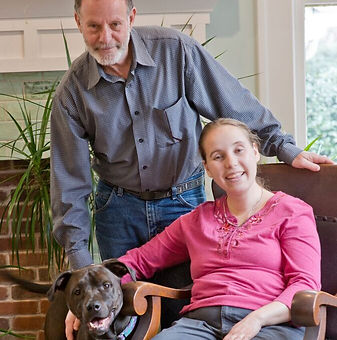 Image of Mae, Dad, and Dog shown.