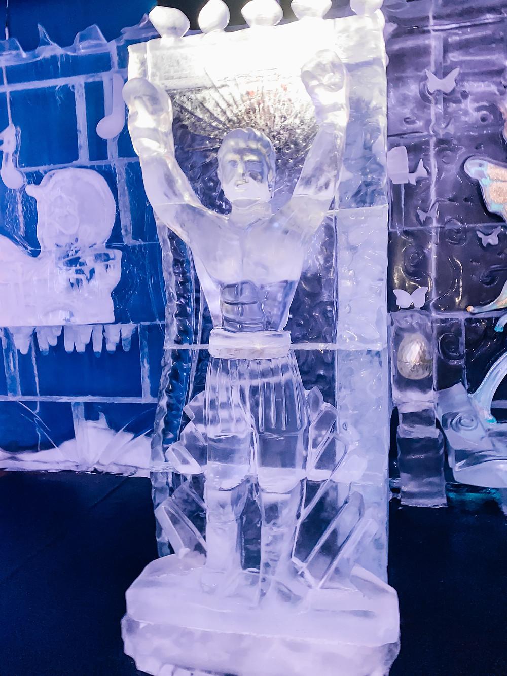 Rocky Balboa Ice Sculpture at Concourse Ice Bar