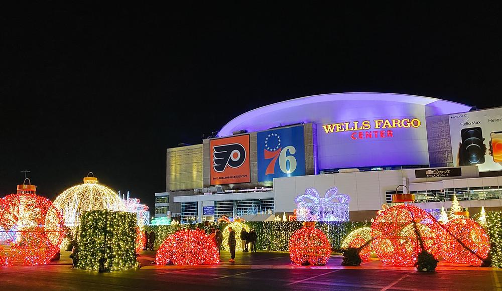 Winter on Broad Street shining bright on The Wells Fargo Center in Philadelphia, PA