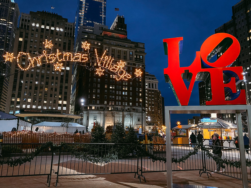 Love Park transformed into the beautiful German-styled market known as Christmas Village.