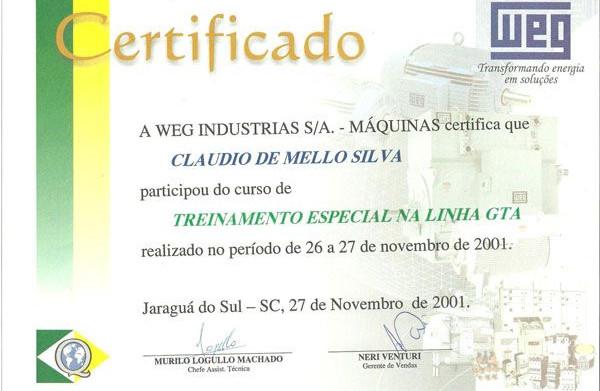 WEG - Certificada em Manutenção da Linha GTA desde 2001