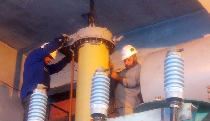 Substituição do comutador e tratamento de óleo com trafo energizado
