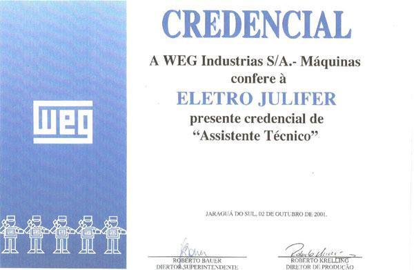 WEG - Assistente Técnico Weg Máquinas desde 2001