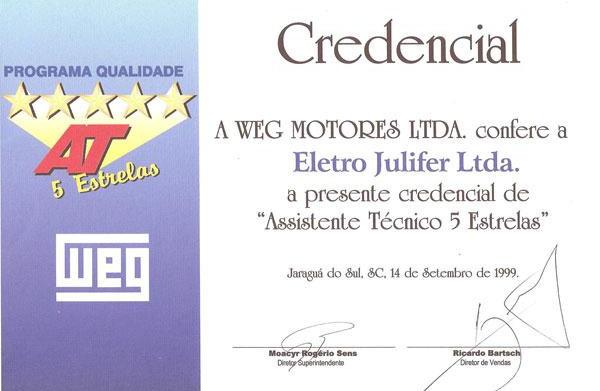 WEG - Assistente Técnico 5 estrelas desde 1999