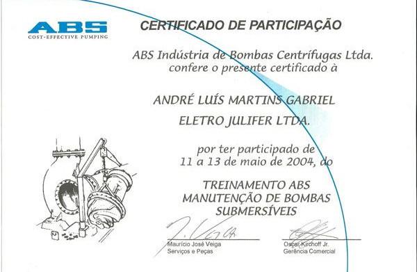 Certificada em Manutenção de Bombas Submersíveis desde 2004