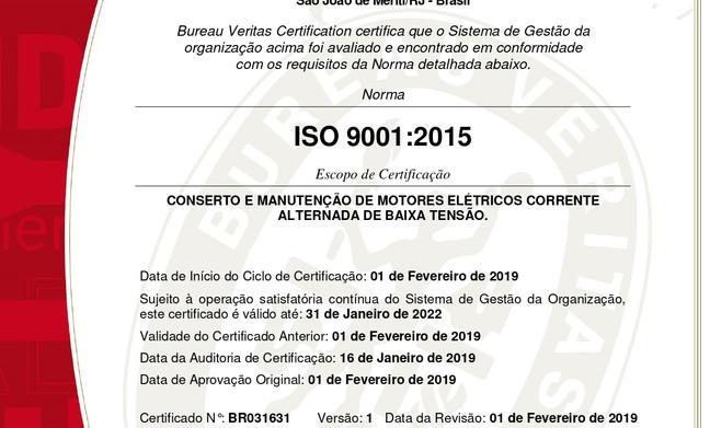 BV - Certificada em Gestão da Qualidade - ISO 9001:2008, acreditação Inmetro desde 2011