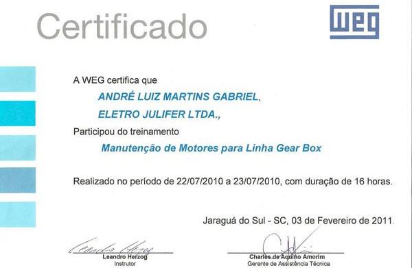 WEG - Certificada em Manutenção de Motores para linha Gear Box desde 2010