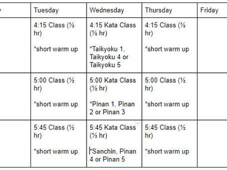 Class Schedule 7/6-7/31